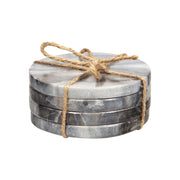 Grey Marble Round Coasters - Set of 4