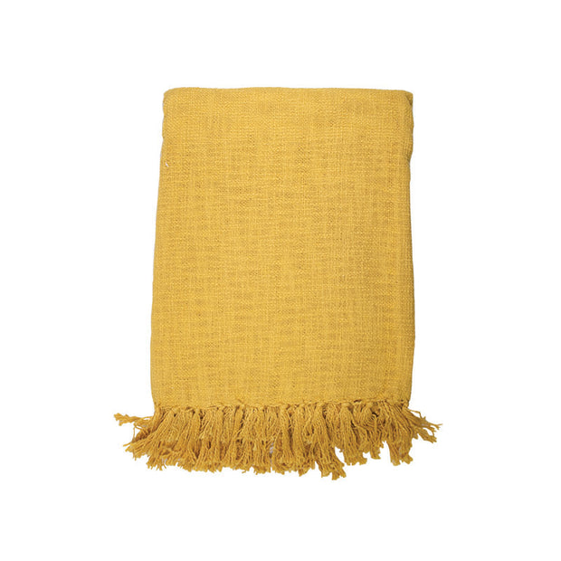 Mustard Slub Throw with Fringes