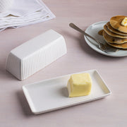 Stripe Embossed Covered Butter Dish