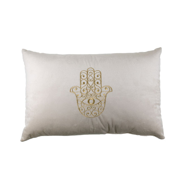 Hamsa Gold Embroidered Pillow