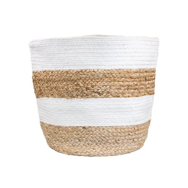 White Striped Braided Natural Basket