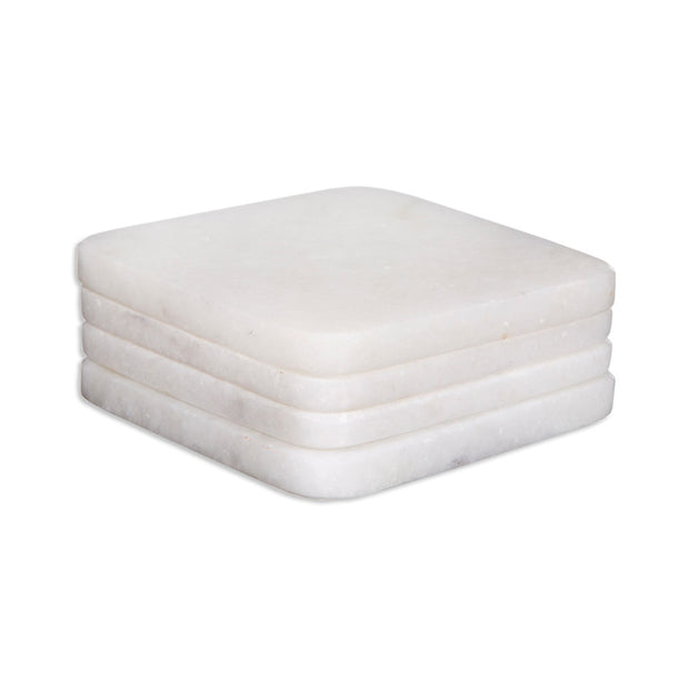 White Marble Square Coasters - Set of 4