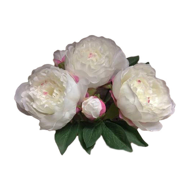 Faux Peony Bush with 3 Flowers