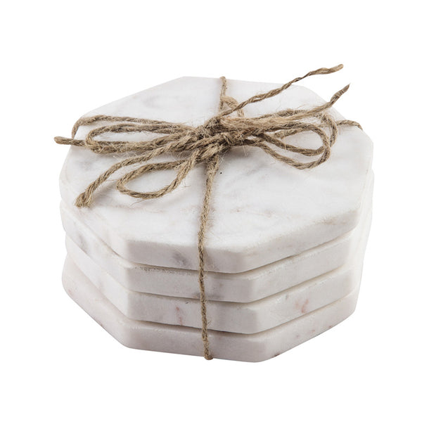 White Marble Octagon Coasters - Set of 4