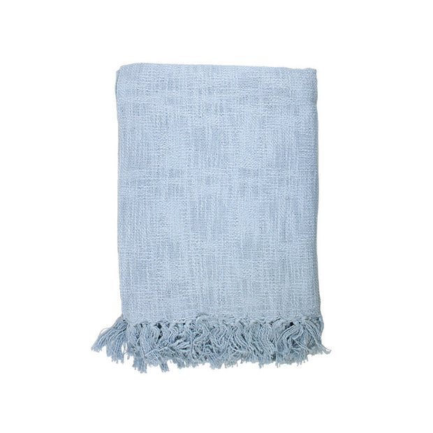Light Blue Slub Throw with Fringes