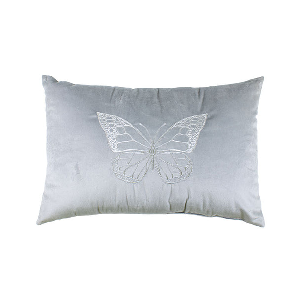 Butterfly Silver Embroidered Pillow