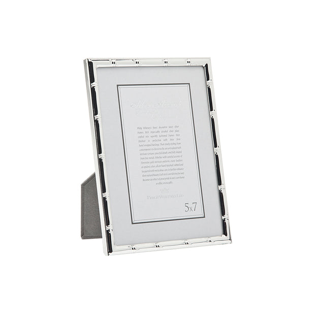 5x7 Thin Silver Bamboo Picture Frame
