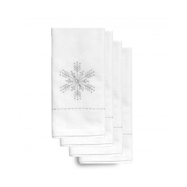 Holiday Silver Snowflake Napkins - Set of 4