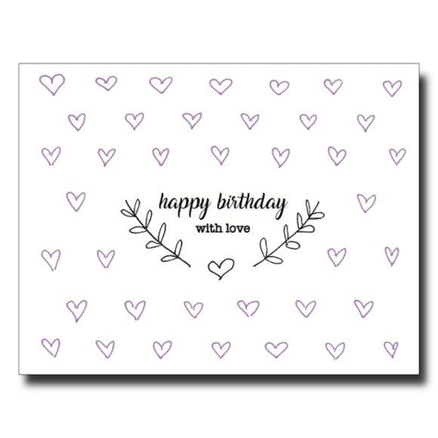 Purple Hearts Birthday Card