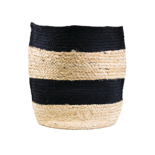 Black Striped Braided Natural Basket