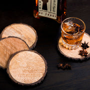Wood Bark Edge Round Coasters - Set of 4
