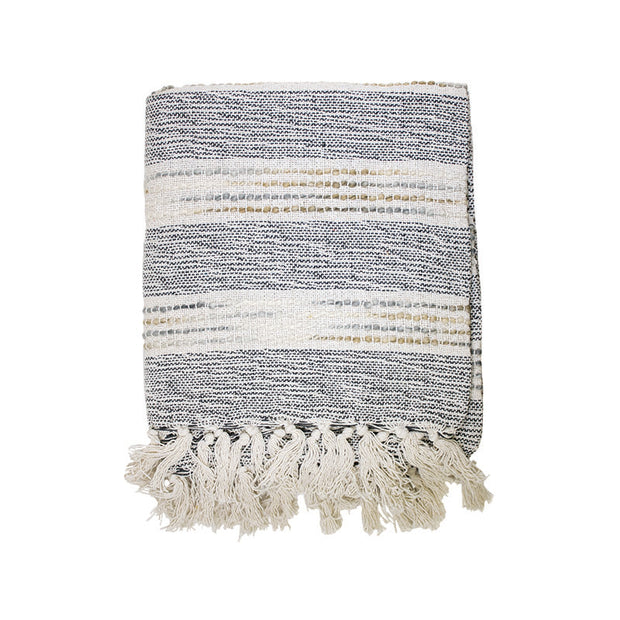 Multi Texture Throw with Fringes