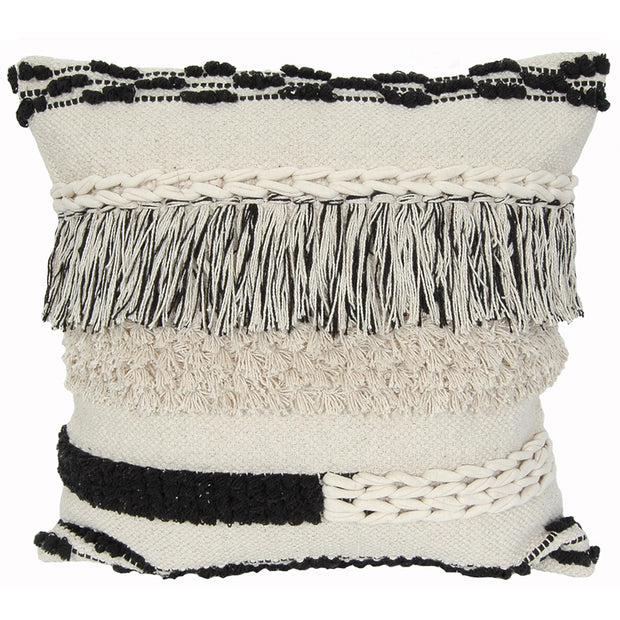 "20"" Black Fringe Pillow"