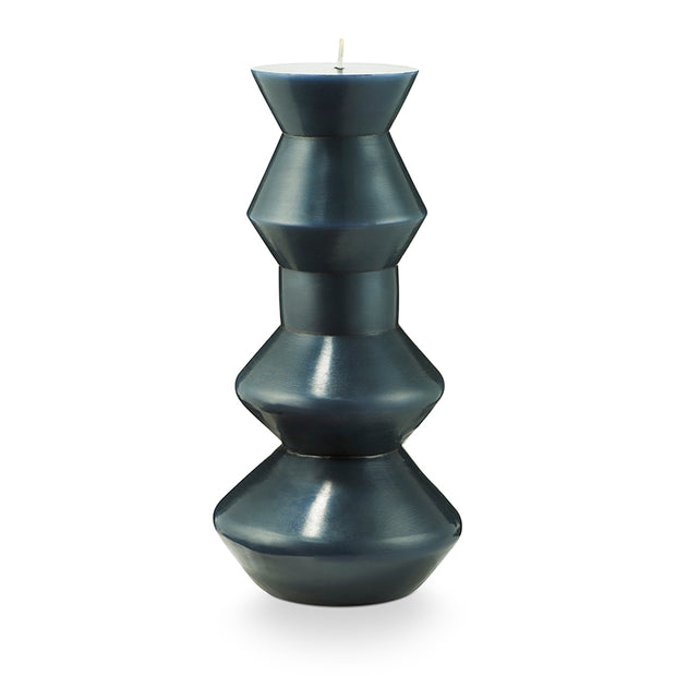 Medium Indigo Geo Pillar Candle