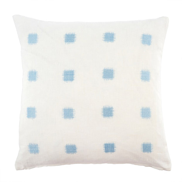 Ikat Stitch Linen Pillow, Aqua