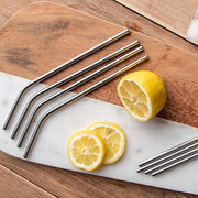 Curved Stainless Steel Reusable Straws - Set of 4