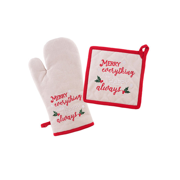Holiday Oven Mitt and Pot Holder Set