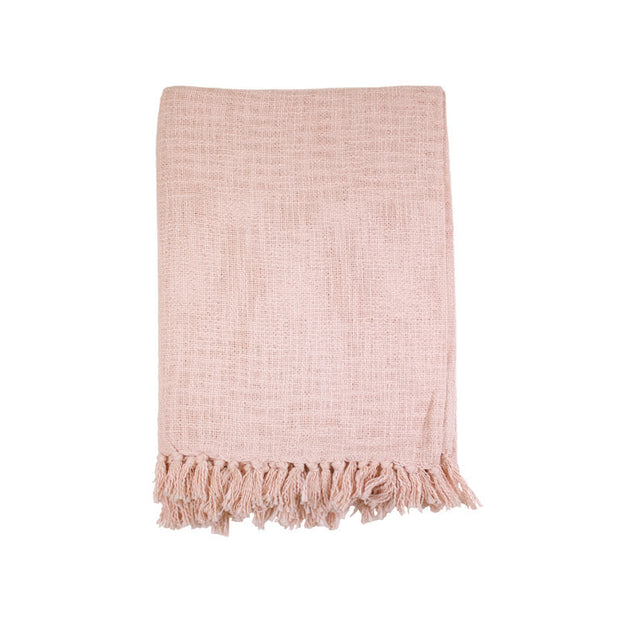 Light Pink Slub Throw with Fringes