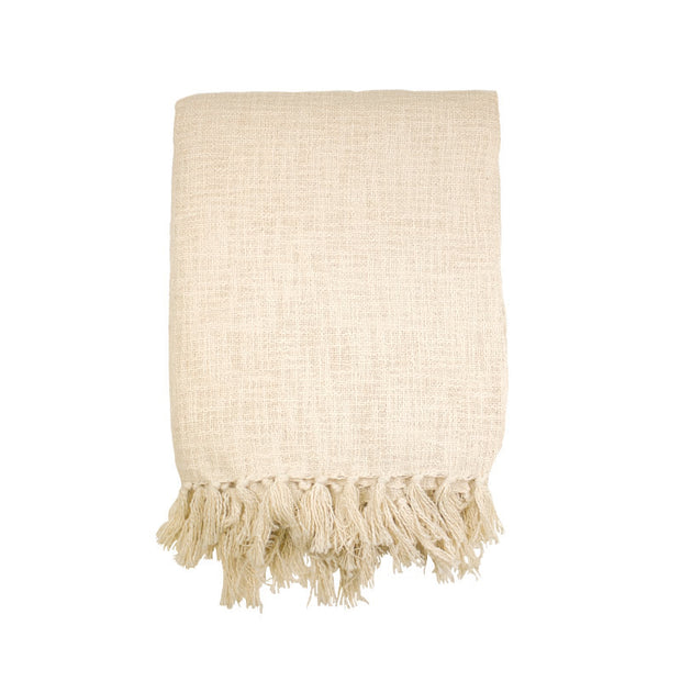 Ivory Slub Throw with Fringes