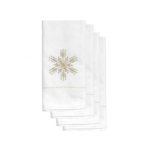 Holiday Gold Snowflake Napkins - Set of 4