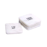 White Marble Sentiment Coasters - Set of 4