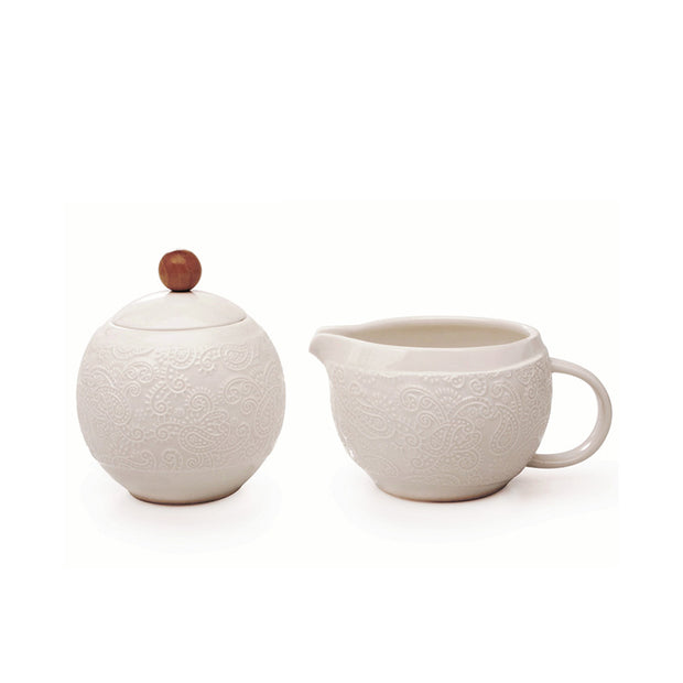 Embossed Cream & Sugar Set