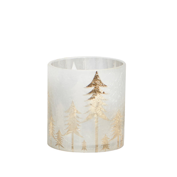 Small Frosted Forest Candle Holder
