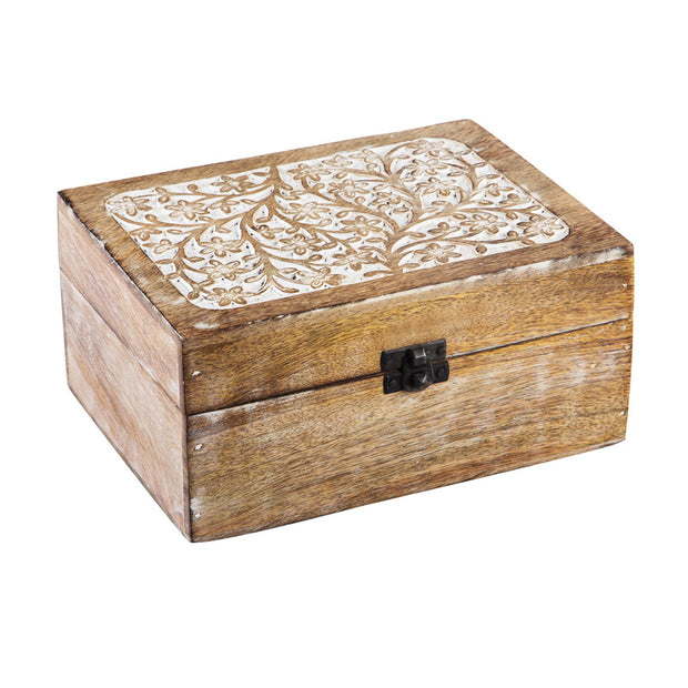 Whitewash Wood Large Carved Décor Box