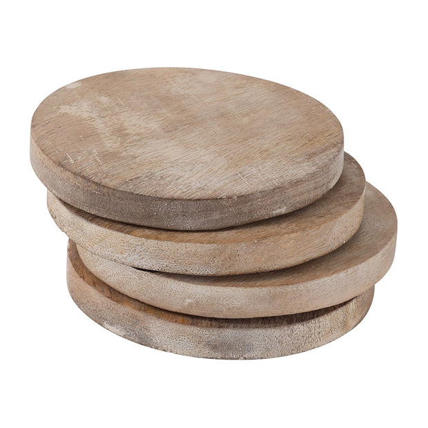 Whitewash Wood Coasters - Set of 4