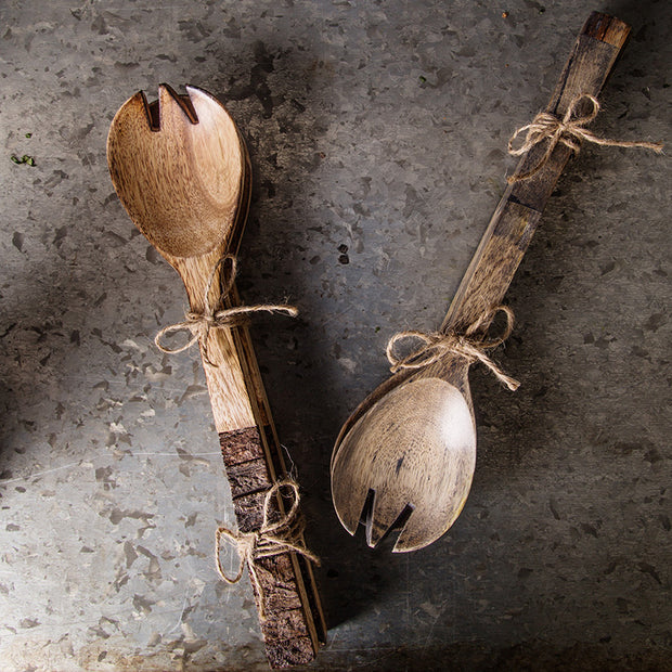 Mango Wood Bark Salad Server - Set of 2