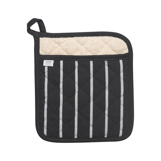 Black Chef Stripe Pot Holder