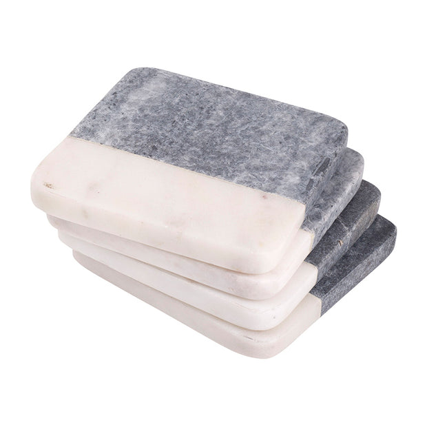 Two Tone Square Marble Coasters - Set of 4