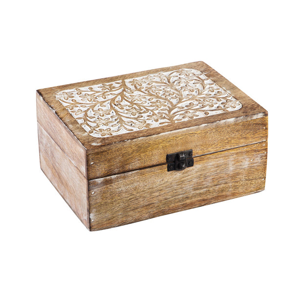 Whitewash Wood Medium Carved Décor Box
