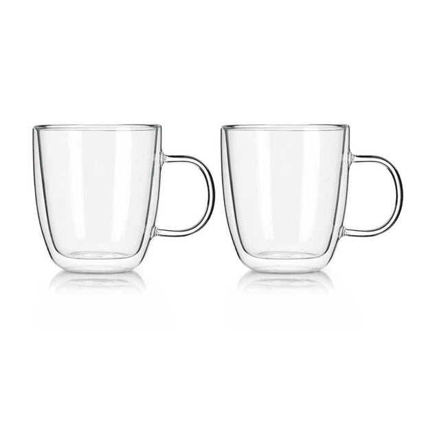 Tempered Double Wall Coffee Mugs - Set of 2