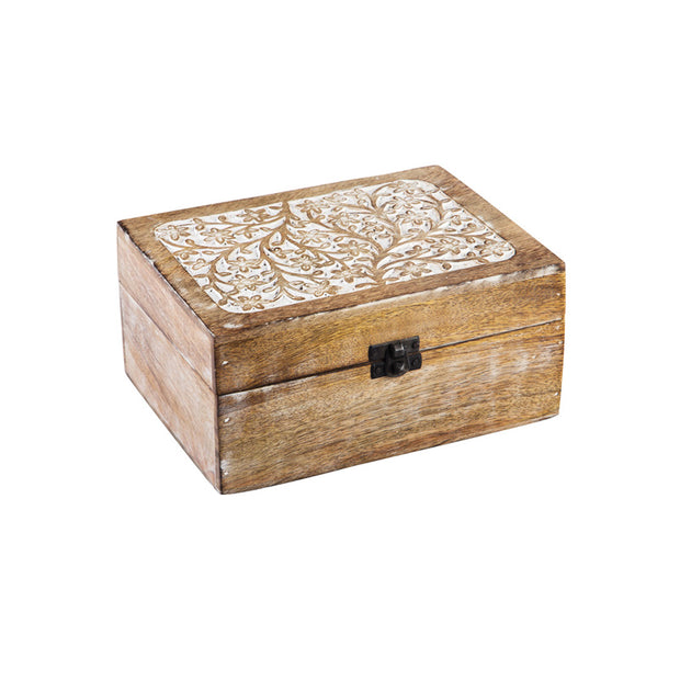 Whitewash Wood Small Carved Décor Box