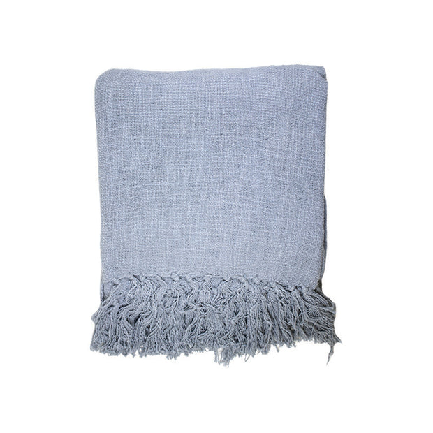 Steel Grey Slub Throw with Fringes