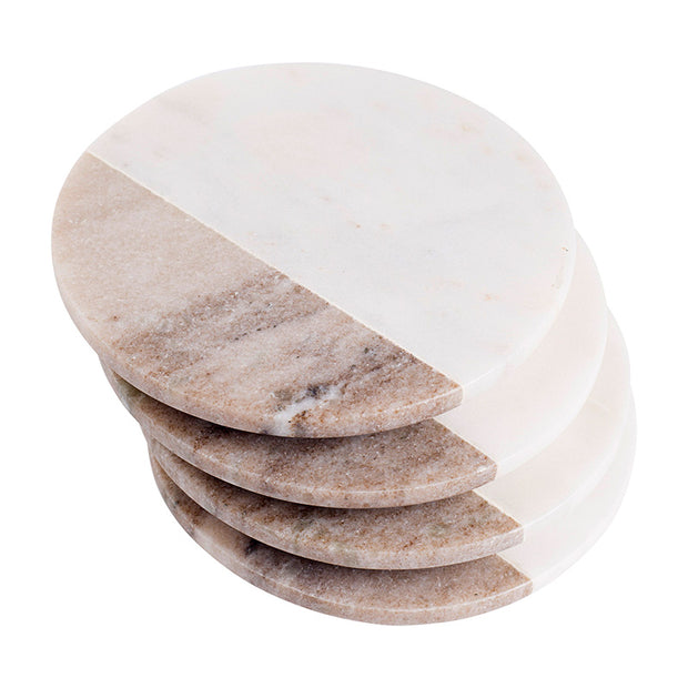 Two Tone Round Marble Coasters - Set of 4