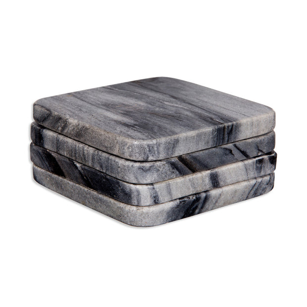Grey Marble Square Coasters - Set of 4