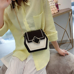 High Quality Contrast Color Scrub Leather Shoulder Bags for Women 2020 Small Hexagon Messenger Bag Phone Handbags and Handbags
