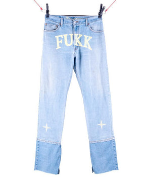 "1 of 1 ""FUKK"" BLUE EXTENDO DENIM STRAIT LEG - +FRESH.i.AM+"