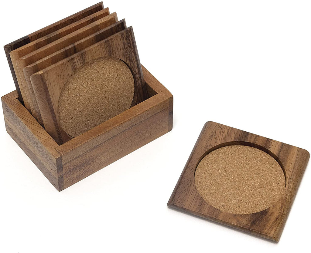 Lipper International Acacia Square with Cork Coasters and Caddy, 7-Piece Set