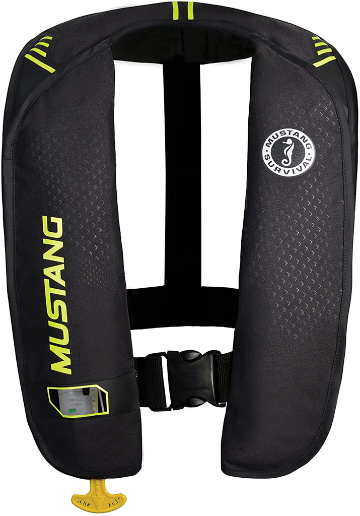 Mustang Survival - M.I.T. 100 Manual Inflatable PFD for Adults (Black-Fluorescent Yellow - One Size Fits All) Adjustable Waist Belt, Large Arm Cut Outs, USCG Approved