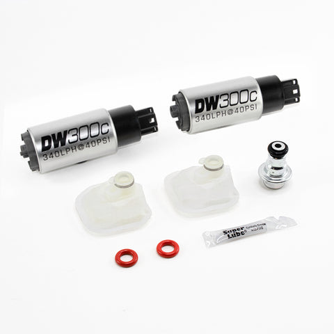DW300c series, Two 340lph compact in-tank fuel pumps w/ mounting clips, w/ install kit for 09-15 Cadillac CTS-V