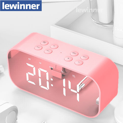 Lewinner Multifunction Wireless Bluetooth Speakers with Clock Home Mini LED Display Digital Table Alarm Clock for Office Bedroom