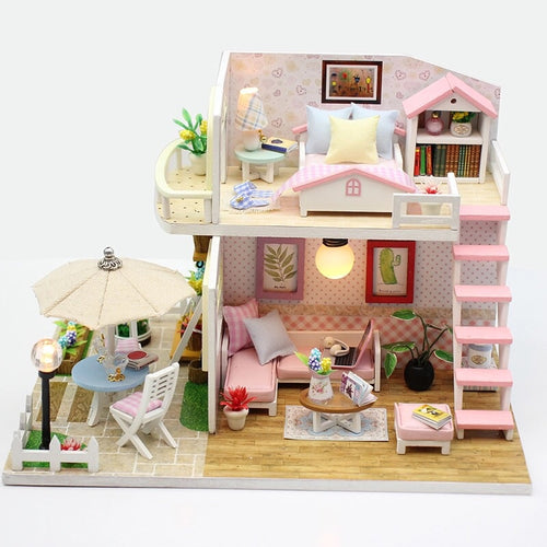 DIY Wooden House Miniaturas with Furniture DIY Miniature House Dollhouse Toys for Children - Hush Hobbies