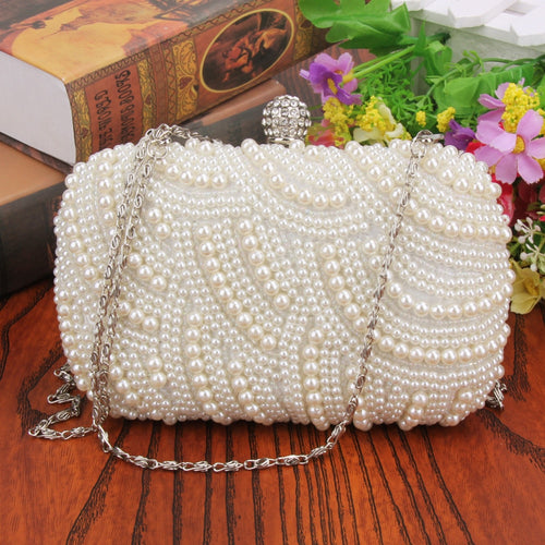 Crystal Pearl White Handbag for Woman