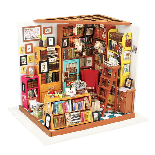 DIY Sam's Study Room with Furniture Miniature Wooden Doll House Toy DG102