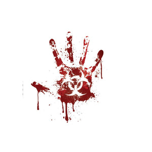 12.2CM*15CM Bloody Handprint Biohazard Zombie - Hush Hobbies