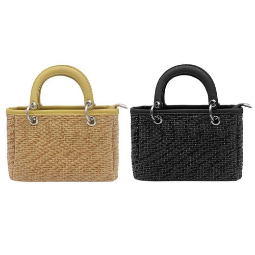 Women Handmade Straw Woven Rattan  Mini Handbags
