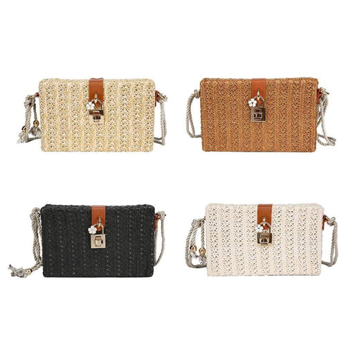 New Fashion Summer ins Box Straw Bag Bohemian Women's Handbags Retro Fresh Straw Weave Lock Beach Bag Female Messenger Bags Bali